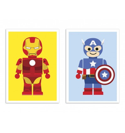 2 Art-Posters 30 x 40 cm - W20370 - Duo Ironman and Captain AMerica Toys - Rafa Gomes