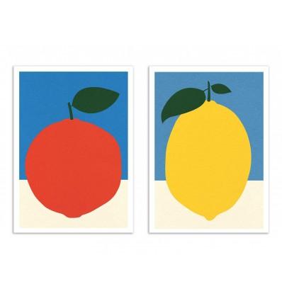 2 Art-Posters 30 x 40 cm  - Duo Orange and Lemon - Rosi Feist