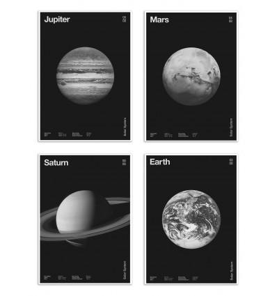 4 Art-Posters 20 x 30 cm - Pack 4 planets  - Florent Bodart