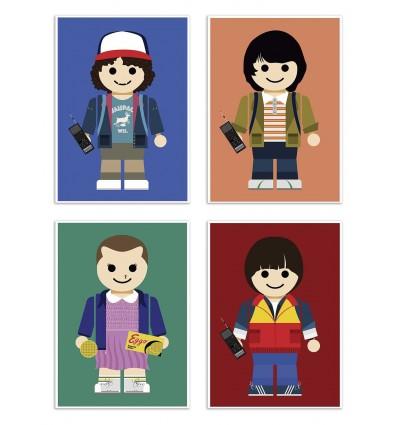 4 Art-Posters 20 x 30 cm - Pack Stranger Things Toys - Rafa Gomes