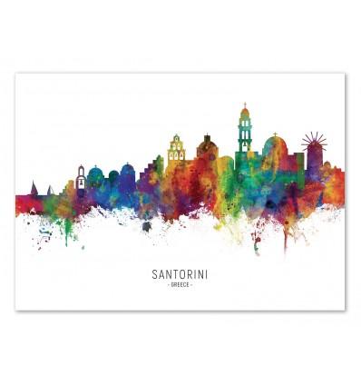 Art-Poster - Santorini Skyline (Colored Version) - Michael Tompsett