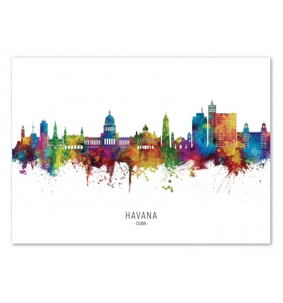 Art-Poster - Havana Cuba Skyline (Colored Version) - Michael Tompsett