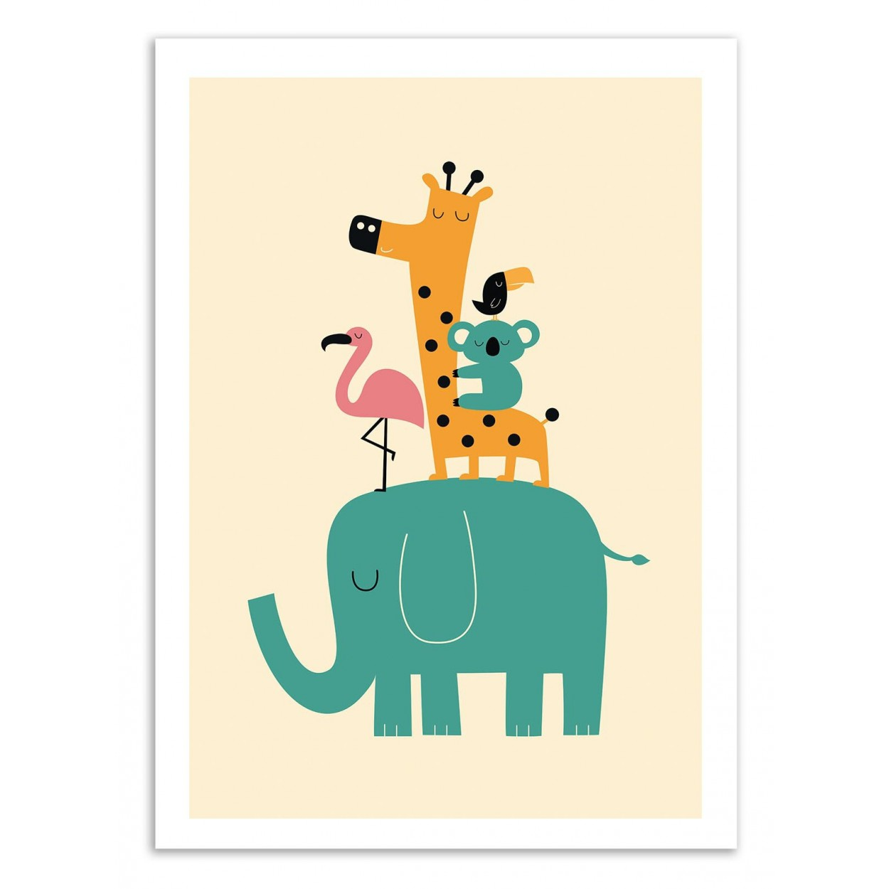affiche art poster print frame baby andy westface animal elephant giraffe koala kid child. Black Bedroom Furniture Sets. Home Design Ideas