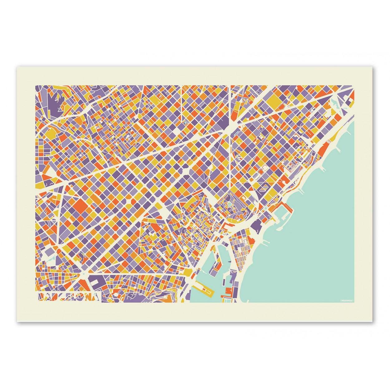Art Poster Of City Map Design Barcelona Rainbow Map By Muzungu