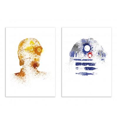 2 Art-Posters 30 x 40 cm - C3PO et R2D2
