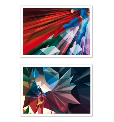 2 Art-Posters 30 x 40 cm - Batman Superman - Liam Brazier