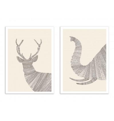 2 Art-Posters 30 x 40 cm - Cerf et Elephant - Florent Bodart