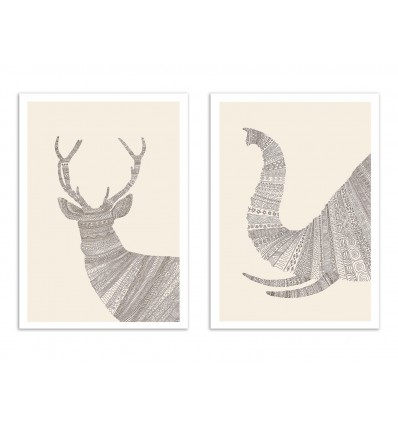 2 Art-Posters 30 x 40 cm - Stag and Elephant - Florent Bodart