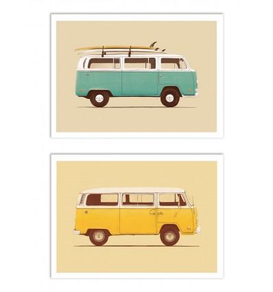 2 Art-Posters 30 x 40 cm - hippie Vans - Florent Bodart