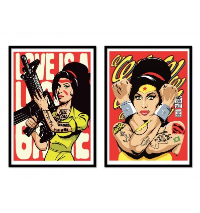 2 Art-Posters 30 x 40 cm - Amy Winehouse Fan Art - Butcher Billy