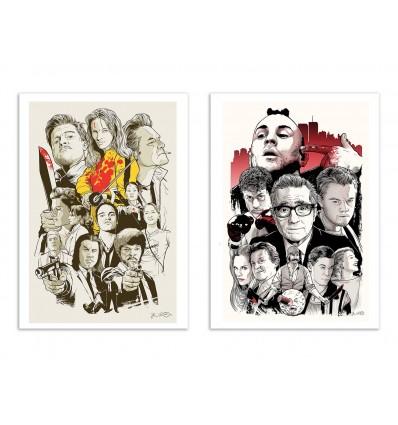 2 Art-Posters 30 x 40 cm - Tarantino and Scorcese - Joshua Budich