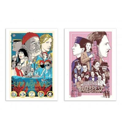 2 Art-Posters 30 x 40 cm - Wes Anderson Fan Art - Joshua Budich