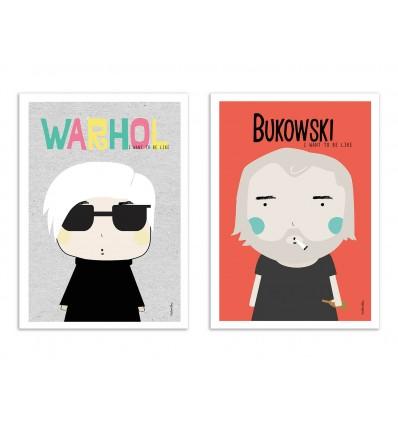 2 Art-Posters 30 x 40 cm - Wahrol et Bukowski - Ninasilla