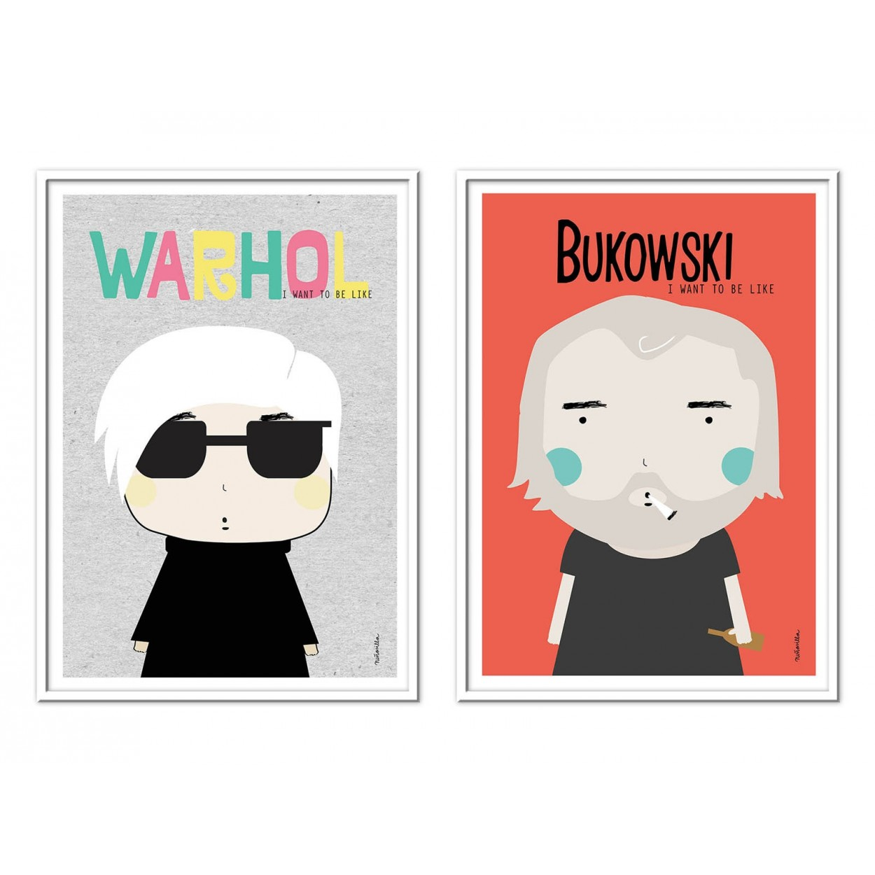 illustration art poster fan art and print of andy wahrol and bukowski. Black Bedroom Furniture Sets. Home Design Ideas
