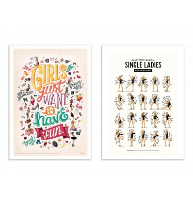 2 Art-Posters 30 x 40 cm - Single Ladies - Nour Tohme