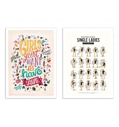 2 Art-Posters 30 x 40 cm - Single Ladies - Nour Tohme