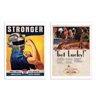 2 Art-Posters 30 x 40 cm - Daft Punk Vintage Ads - David Redon