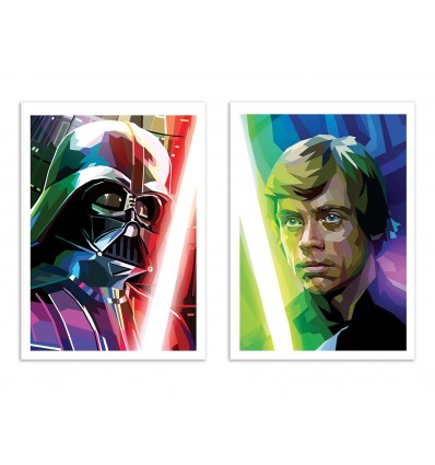 2 Art-Posters 30 x 40 cm - Vador and Luke Polygonal - Liam Brazier
