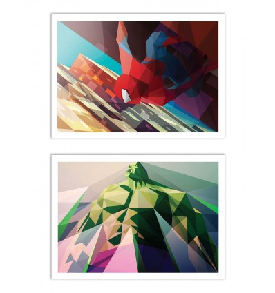 2 Art-Posters 30 x 40 cm - Spiderman and Hulk Polygonal - Liam Brazier