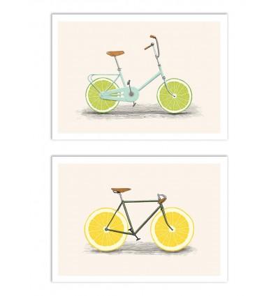 2 Art-Posters 30 x 40 cm - Bikes and lemons - Florent Bodart