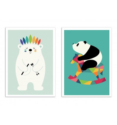 2 Art-Posters 30 x 40 cm - Bébés pandas et ours blanc - Andy Westface