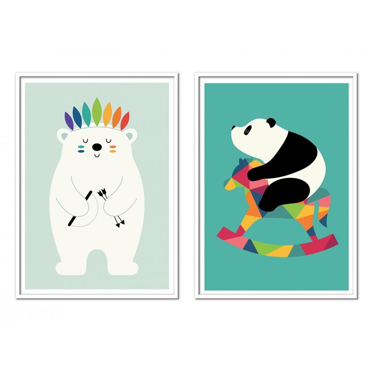affiche art et poster illustration dessin de bébés panda et ours blanc