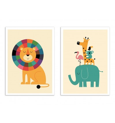 2 Art-Posters 30 x 40 cm - animaux de la jungle - Andy Westface
