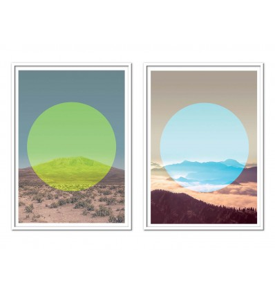 2 Art-Posters 30 x 40 cm - circle mountains - Joe Mania