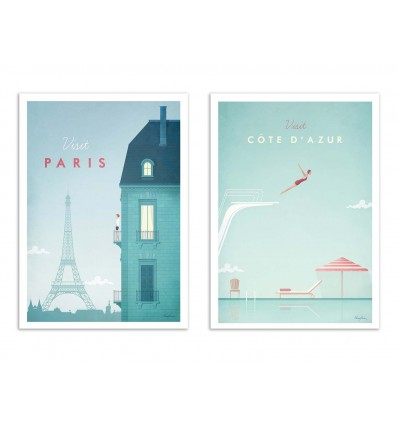 2 Art-Posters 30 x 40 cm - Visit France - Henry Rivers