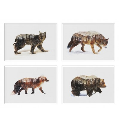 4 Art-Posters 20 x 30 cm - Winter Animals  - Andreas Lie
