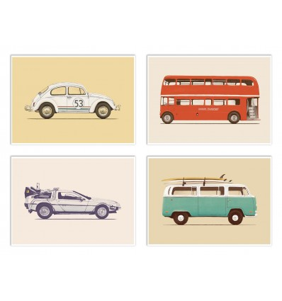 4 Art-Posters 20 x 30 cm - Pop Vehicles - Florent Bodart