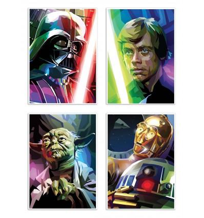 4 Art-Posters 20 x 30 cm - Star Wars Polygones - Liam Brazier