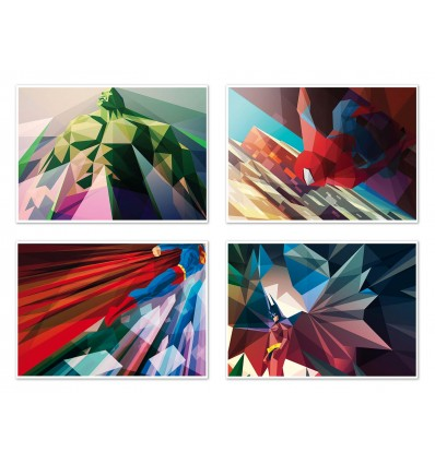 4 Art-Posters 20 x 30 cm - Super Heroes Polygones - Liam Brazier