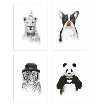 4 Art-Posters 20 x 30 cm - Funny Animals  - Balazs Solti