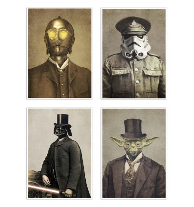4 Art-Posters 20 x 30 cm - Star Wars Vintage portraits  - Terry Fan