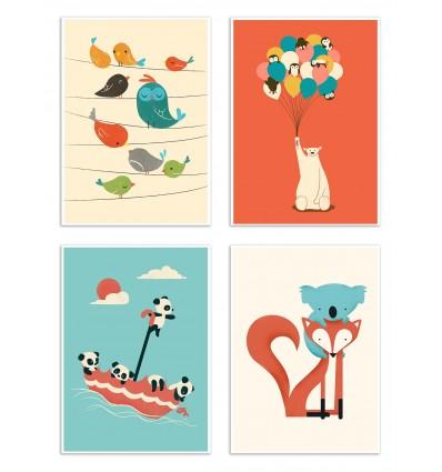 4 Art-Posters 20 x 30 cm - Bébés Animaux - Jay Fleck