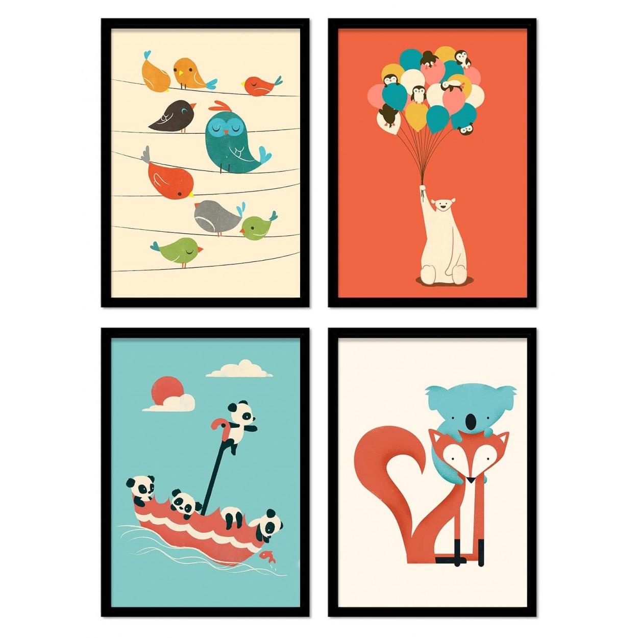 affiche art photo et poster illustration de bébé animaux pour enfants