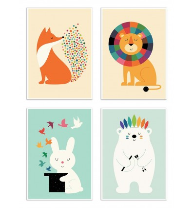 4 Art-Posters 20 x 30 cm - Baby Animals  - Andy Westface