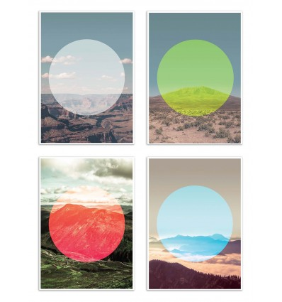 4 Art-Posters 20 x 30 cm - Circle Mountains - Joe Mania
