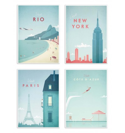 4 Art-Posters 20 x 30 cm - Visit Cities - Henry Rivers