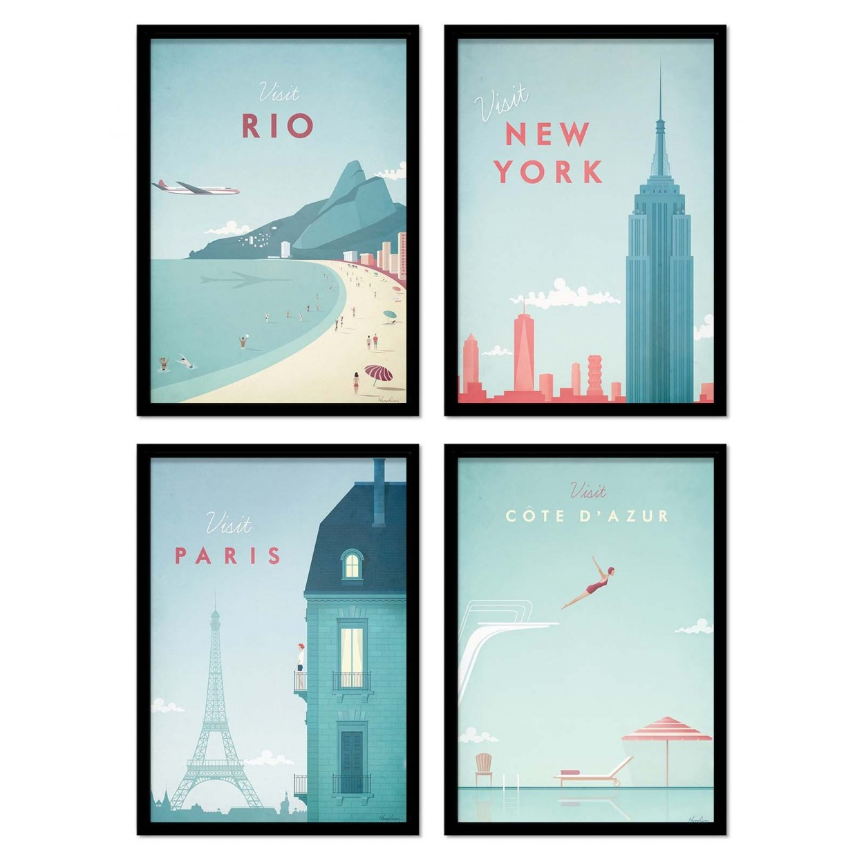 illustration photo art poster and vintage print of paris and new york