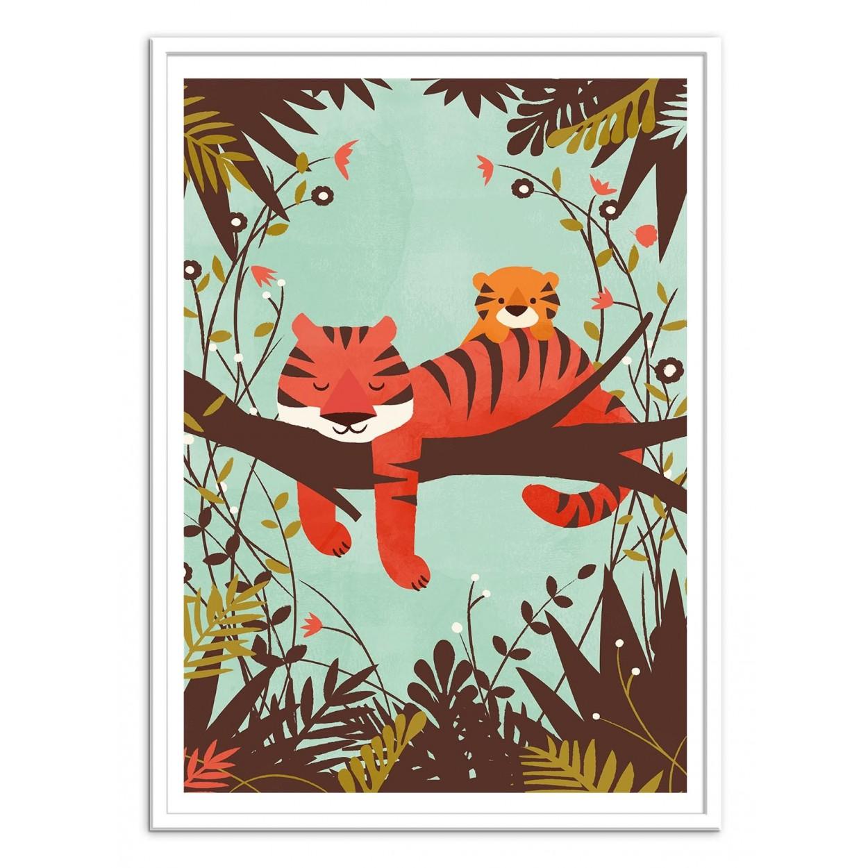 affiche d art et poster illustration pour enfant d un bébé tigre