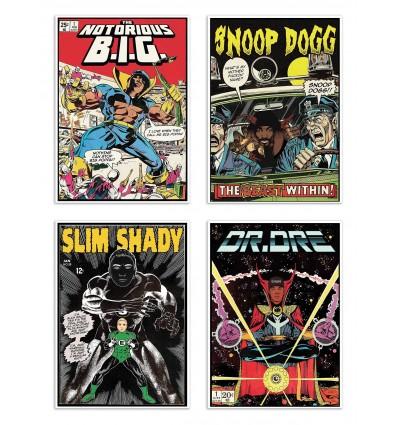 4 Art-Posters 20 x 30 cm - Rappers Comics - David Redon