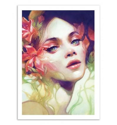 illustration art poster frame print and digital painting of women