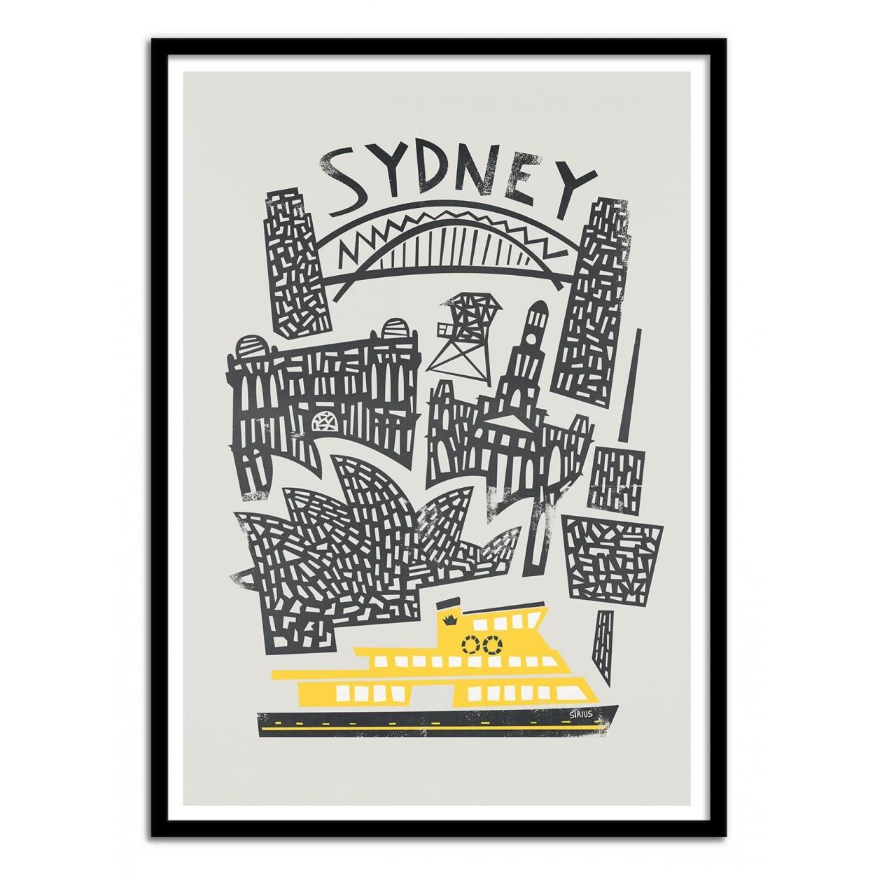 photo art poster frame design geometric print of sydney