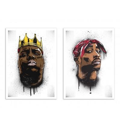 2 Art-Posters 30 x 40 cm - Biggie and Tupac - Bokkaboom
