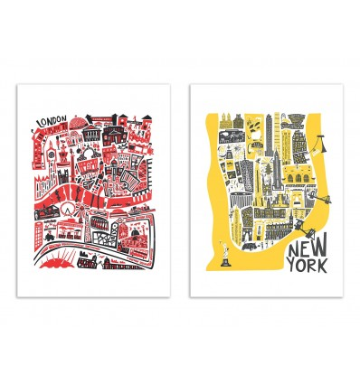 2 Art-Posters 30 x 40 cm - Cartes Londres et New-York - Fox and Velvet