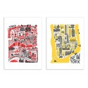 2 Art-Posters 30 x 40 cm - London and New-York Maps - Fox and Velvet
