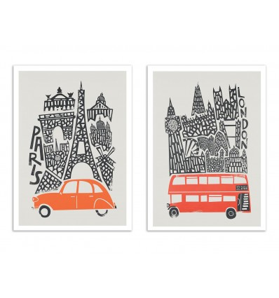 2 Art-Posters 30 x 40 cm - Paris and London - Fox and Velvet