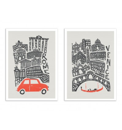 2 Art-Posters 30 x 40 cm - Roma and Venice - Fox and Velvet